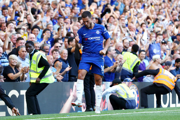 Eden Hazard of Chelsea celebrates after scoring his team's second goal during the Premier League match between Chelsea FC and AFC Bournemouth at Stamford Bridge on September 1, 2018 in London, United Kingdom. (Aug. 31, 2018 - Source: Clive Rose/Getty Images Europe)