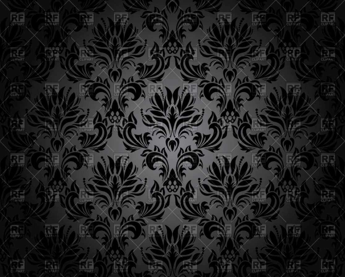 damask seamless black wallpaper pattern vector illustration of