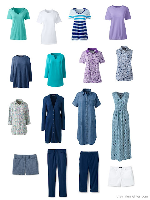 a travel capsule wardrobe in navy and white with teal and lavender accents