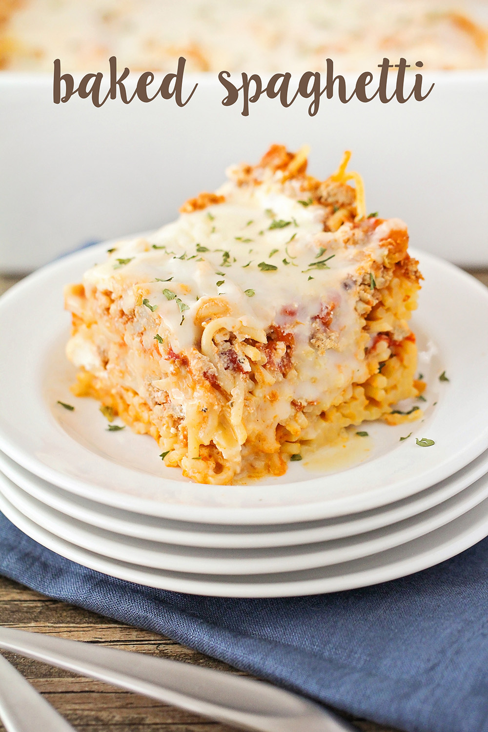 This savory and cheesy baked spaghetti is so delicious and so easy to make!