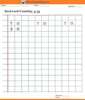 Backward counting 30-0 worksheets