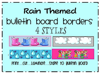 rain themed bulletin board border
