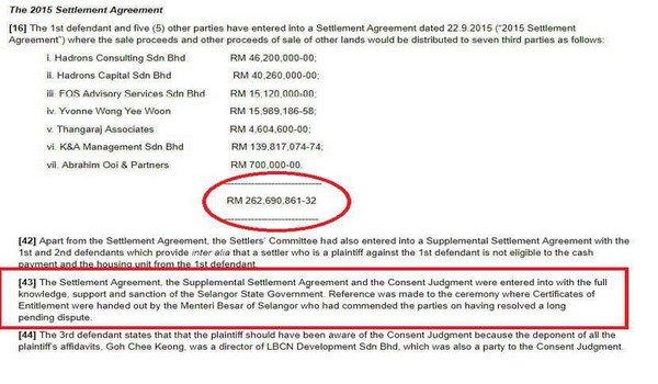 Skandal Tanah Ijok: Lebih RM260 juta di bayar kepada pihak ketiga.