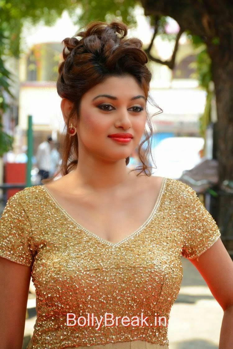 Oviya Photo Gallery, Oviya Hot Pics in golden dress from Sandamarutham Movie