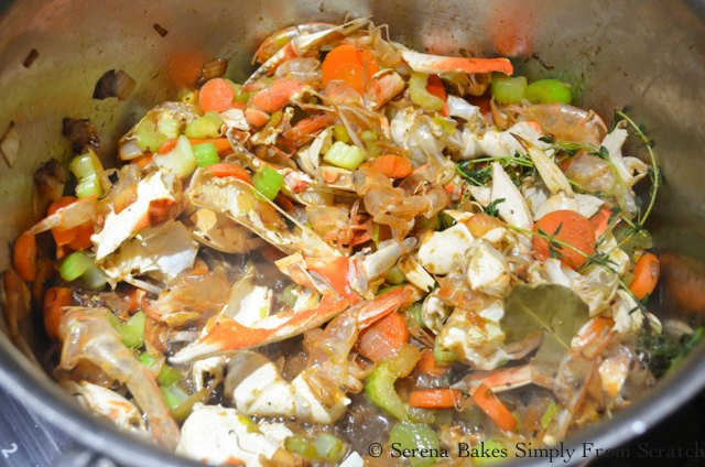 Seafood Stock recipe reduce wine by half from Serena Bakes Simply From Scratch.