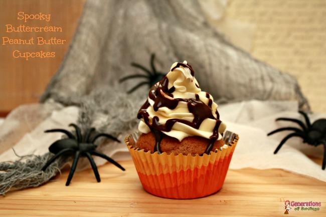 Spooky Buttercream Peanut Butter Cupcakes