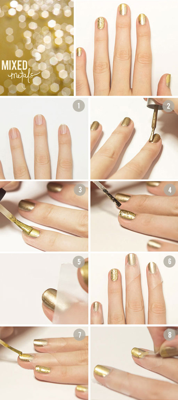 Uñas: Dorado fashion