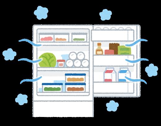開けっ放しの冷蔵庫のイラスト