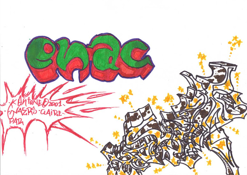 Kent and Ena crew. Green, red, white and ochre markers. Original naive, vintage graffiti sketch on copy paper by Kostas Gogas (akney), signed as Kent from his first Folder, 2001. ENA graffiti crew.