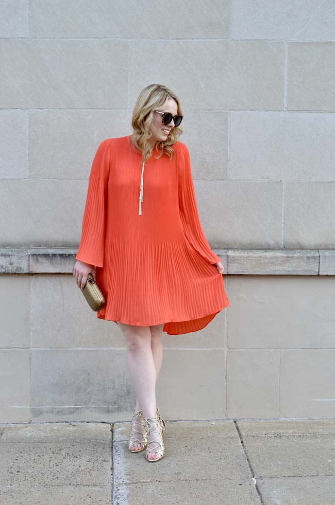 Orange Pleated Dress Nordstrom @rachmccarthy7