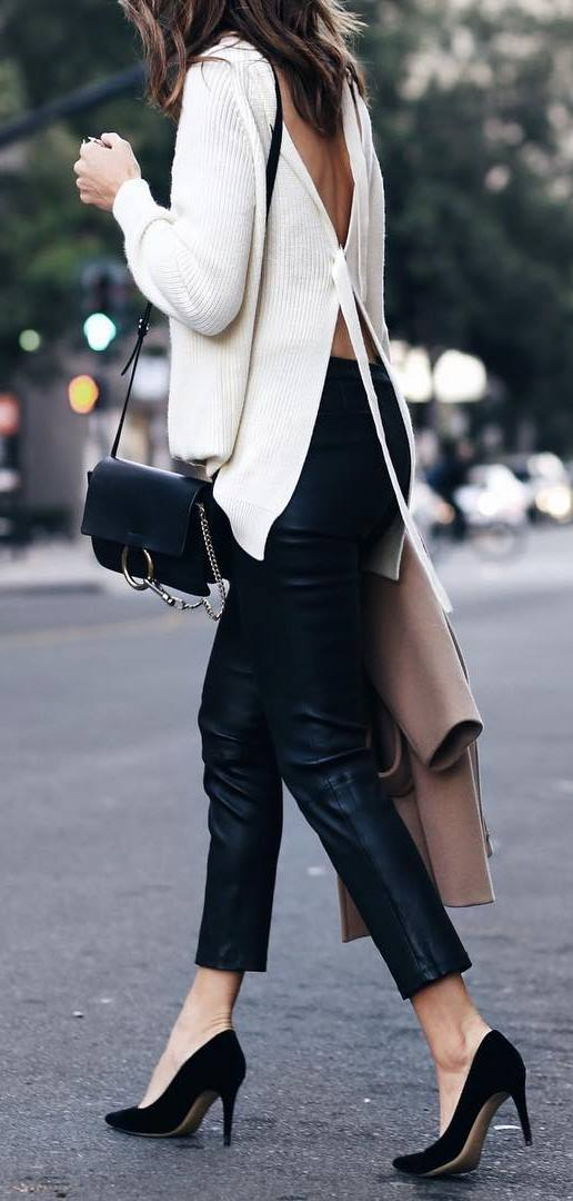spring fashion trends / white sweater + bag + black leather skinnies + heels + jacket