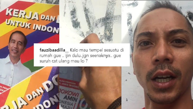 Viral Fauzi Baadila yang Copot Poster Jokowi-Ma'ruf