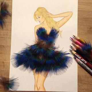 رسمة للفنان إيدجر باستخدام الريش