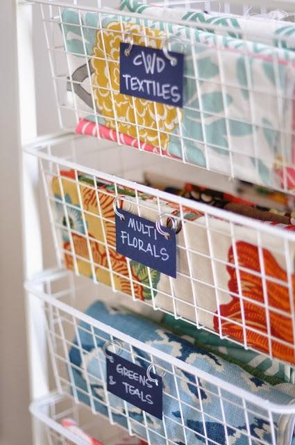 organize fabric in wire baskets
