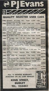 P J Evans Dudley advert 1982