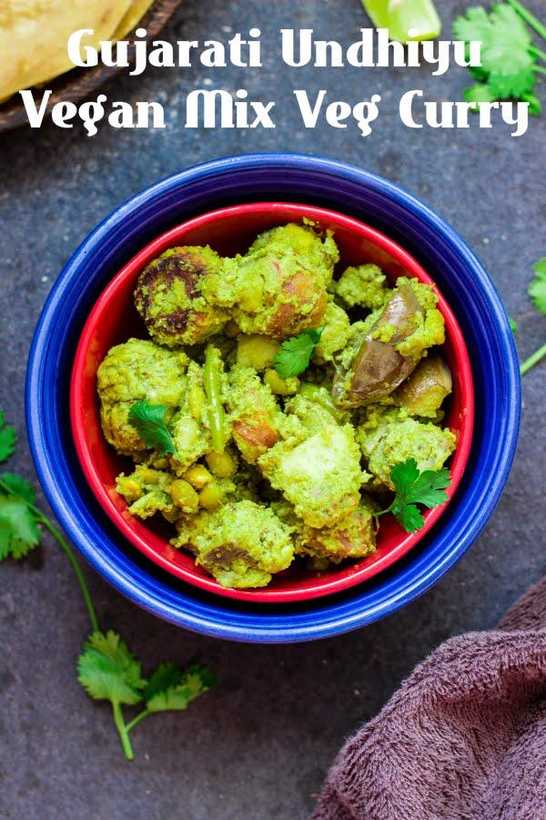 How to make gujarati undhiyo recipe at One Teaspoon Of Life. How to make vegan mix vegetable curry recipe at www.oneteaspoonoflife.com
