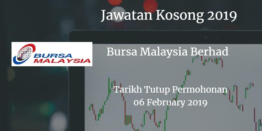 Jawatan Kosong Bursa Malaysia Berhad 06 February 2019