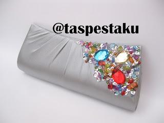 Tas Pesta Silver Clutch Bag Handmade Cantik Buat Acara Resepsi