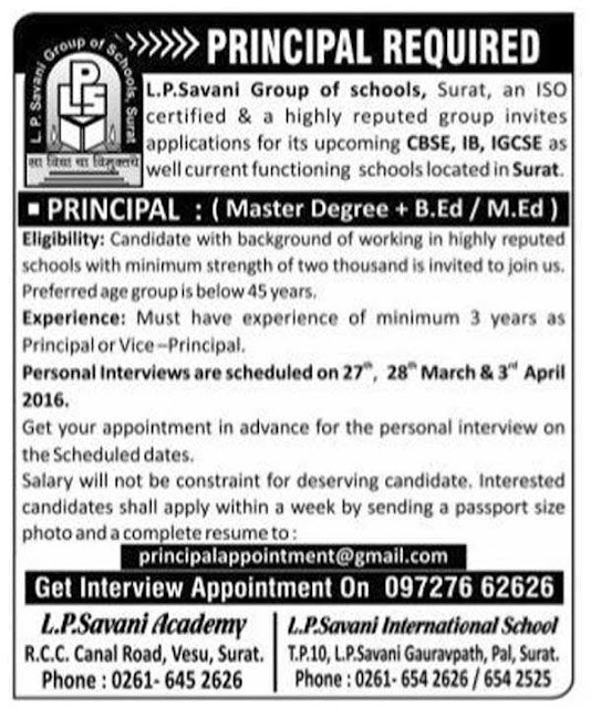 L. P. Savani Group of School, Surat Recruitment 2016