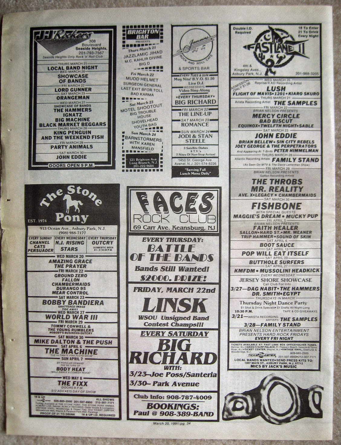 JJ Rockers - The Stone Pony - Brighton Bar - Jammers - Faces - Fastlane 2 band line ups EC Rocker 1991