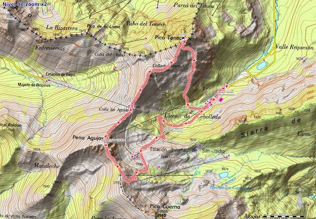 Ruta Pico Toneo y Peña Agujas:Mapa de la ruta estación de esquí San Isidro, Agujas, Toneo