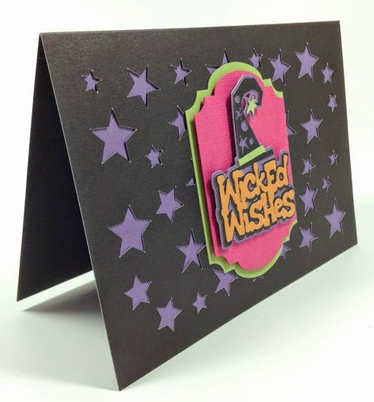 Cricut Artfully Sent Cricut cartridge Wicked Wishes card sideview