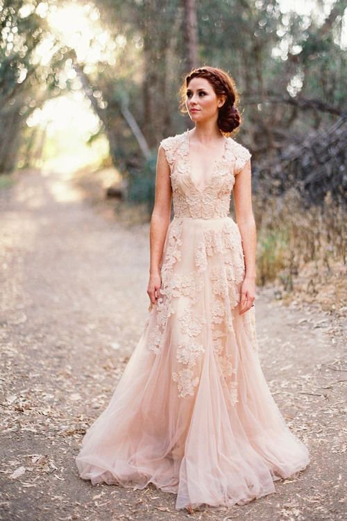 Its my party coloured wedding gowns for a spring wedding blush pink wedding gown junglespirit Images
