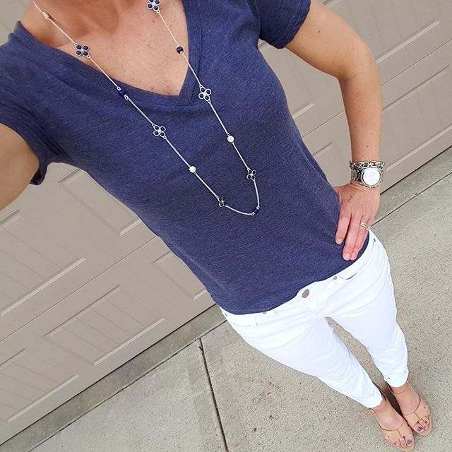 BP. V-Neck Tee - 40% off! // Gap Factory Jeans (similar) // Ivanka Trump Wedges (similar) // Michael Kors Runway Watch - on sale!