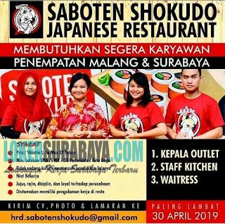 Lowongan Kerja di Saboten Shokudo Japanese Restaurant Surabaya April 2019