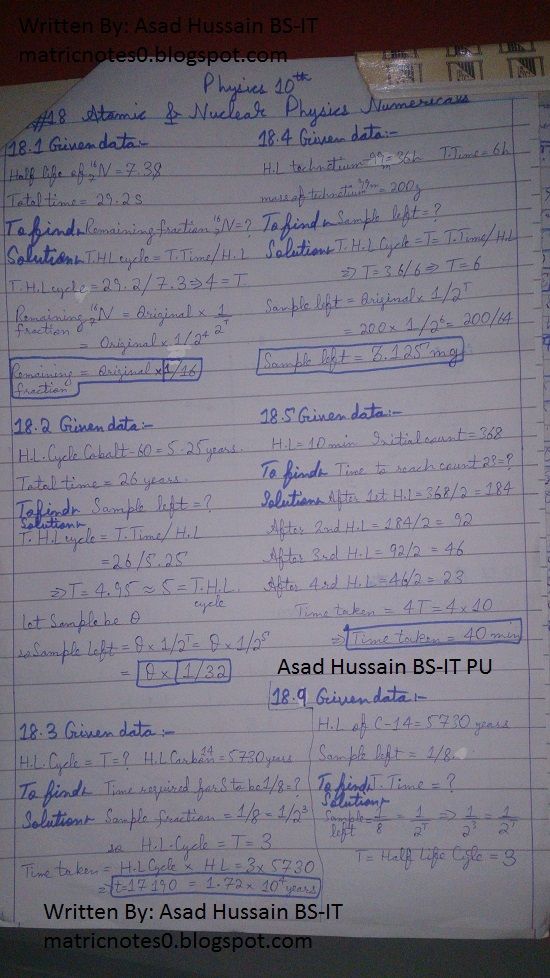 Matric 10th Physics Notes Chapter 18 Numerical Asad Hussain