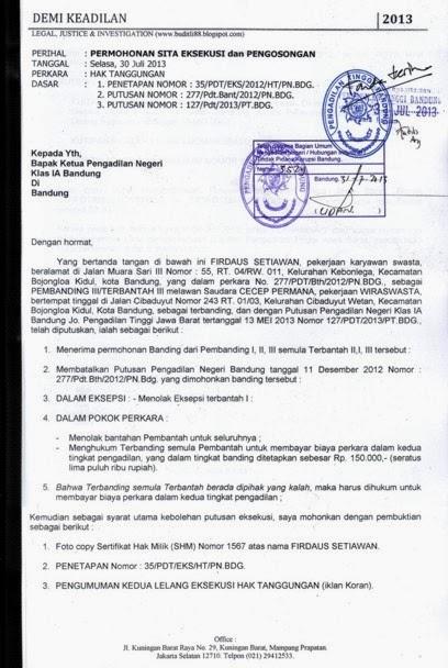 50++ Contoh surat kuasa eksekusi perdata terbaru yang baik dan benar