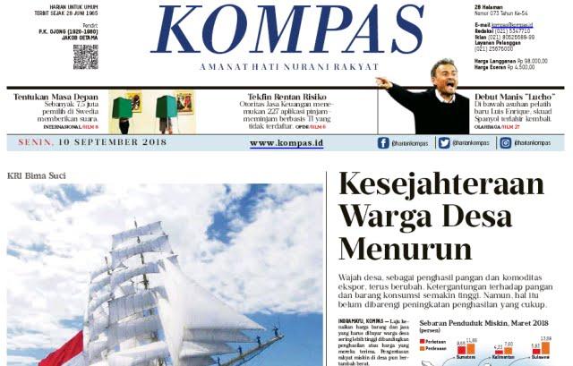 Headline Kompas Hari Ini: Kesejahteraan Warga Desa Menurun