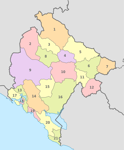 Pembagian wilayah administratif Montenegro - Kedutaan Besar Negara Montenegro