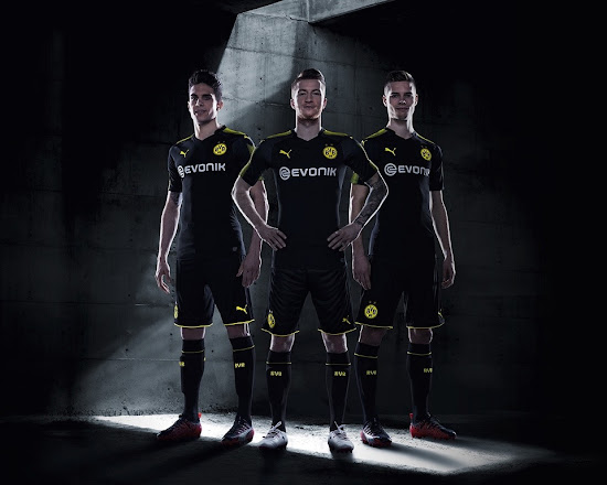The Borussia Dortmund 17-18 away kit is part of Puma s Step Out football  kits collection. Dortmund s 2017-2018 away jersey was revealed on July 12. 7e15c8b15