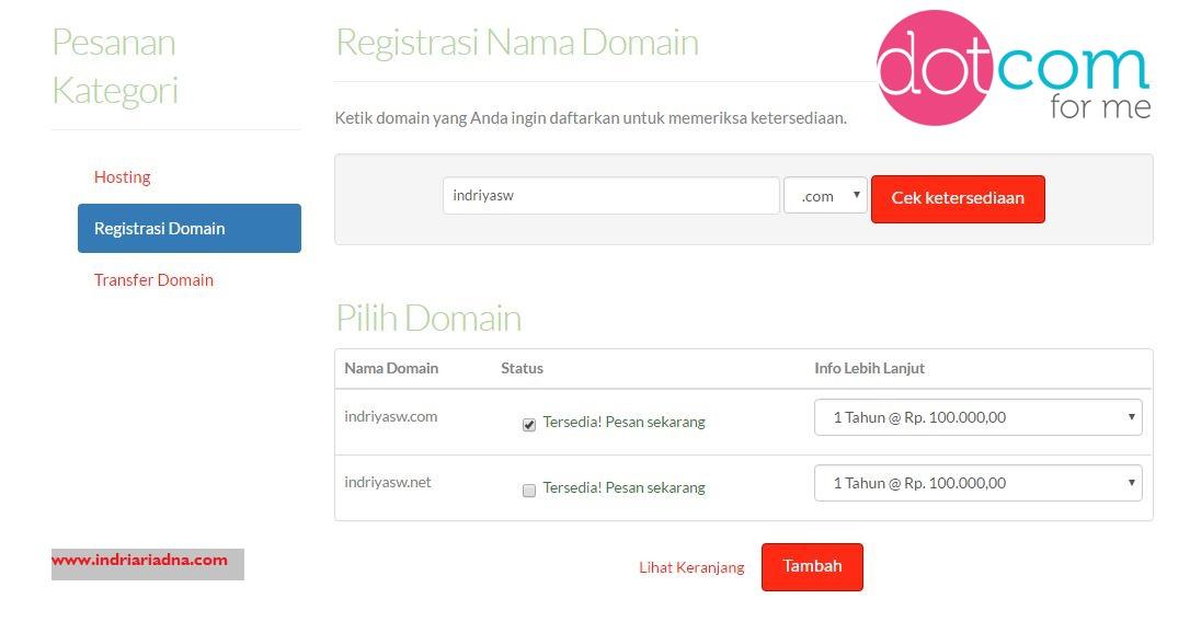 pilih ekstensi domain