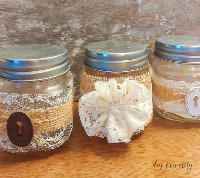 burlap wrapped jars