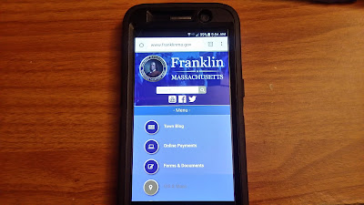 The updated Town of Franklin website is enabled for mobile use