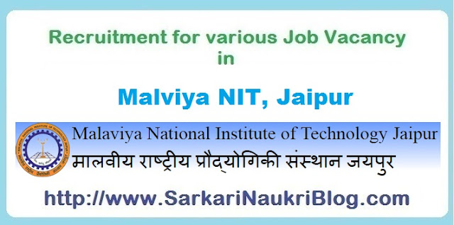 Naukri Vacancy Recruitment in Malaviya NIT Jaipur