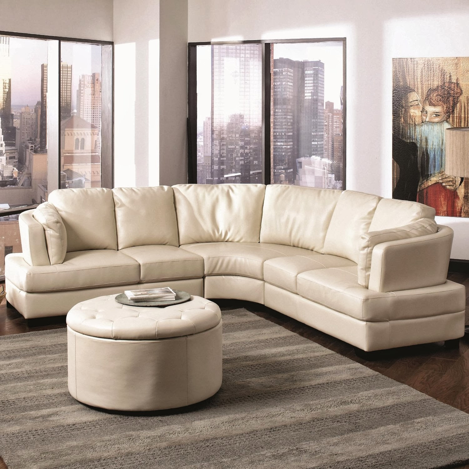 Curved Sectional Sofa Leather Contemporary White Sleeper Buy Online September 2013