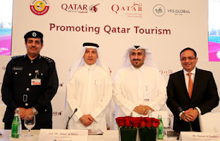 From left: Lieutenant Colonel Muhammad Rashid Al Mazroui, Director of the Airport Passports Department; HE Akbar Al Baker, Group CEO of Qatar Airways; Hassan Al Ibrahim, Chief Tourism Development Officer at Qatar Tourism Authority; Zubin Karkaria, CEO of VFS Global; in a group photo after the announcement.
