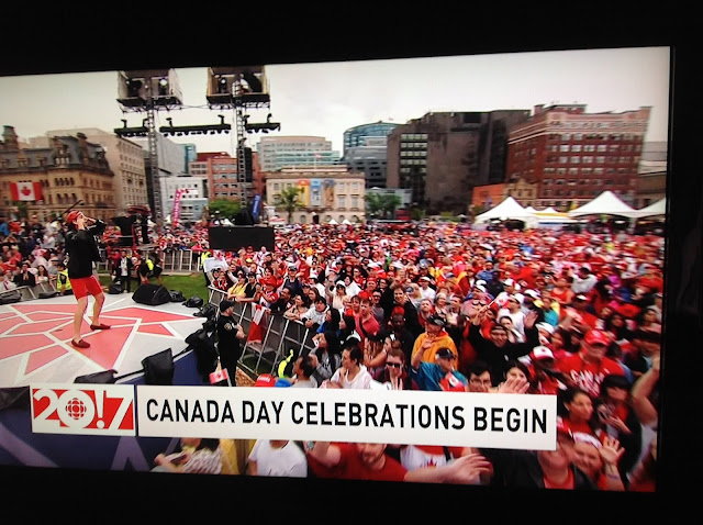 Screenshot CBC coverage Canada 150, Ottawa - Indigenous performer dances