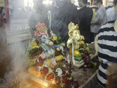 Lord Ganesha idols in a Mumbai temple before Ganpati Visarjan