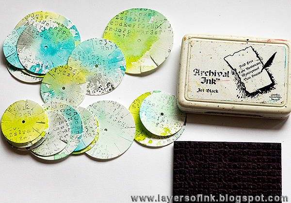 Layers of ink - Paper Leather and Inksheets Canvas Tutorial by Anna-Karin, with Sizzix dies by Eileen Hull.