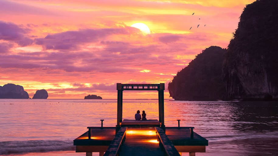 Sunset, Sweet, Couple, Beach, Scenery, 4K, #4.2341