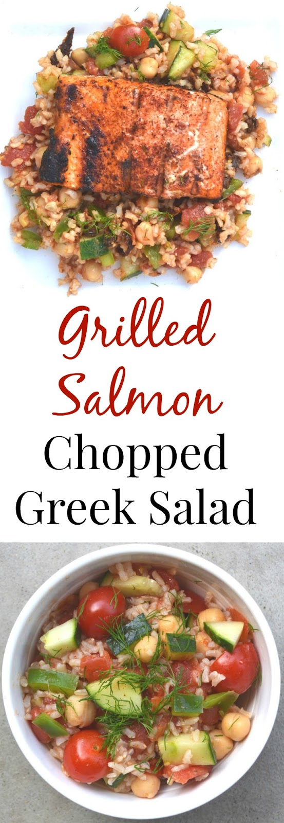 Grilled Salmon Chopped Greek Salad- a flavor packed meal loaded with vegetables and brown rice. www.nutritionistreviews.com