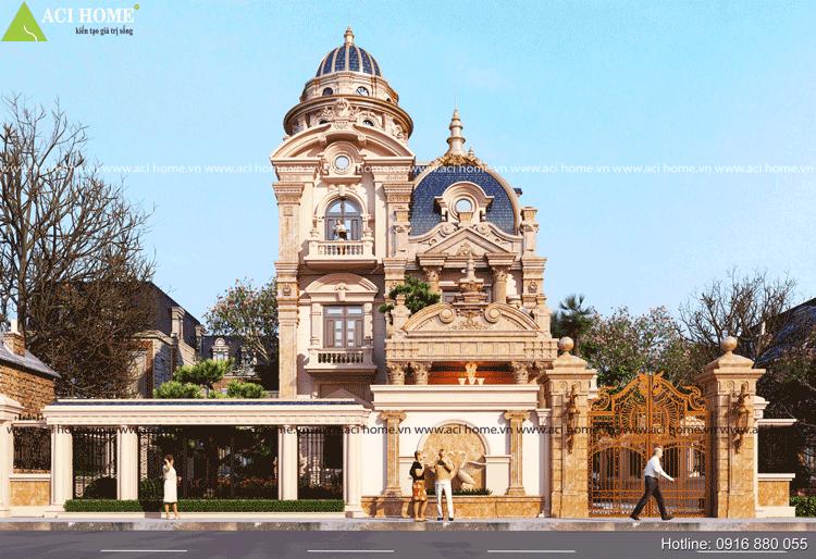 Mẫu kiến trúc biệt thự Hạ Long đẹp nguy nga theo phong cách cổ điển