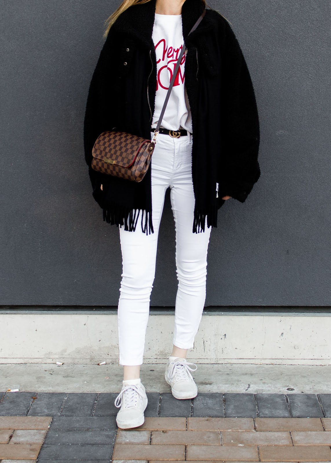Ganni - Gucci belt - Louis Vuitton bag - Acne Studios scarf - Ray-Ban sunglasses - fashion blog
