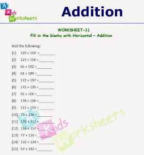 Addition Worksheets addition worksheets horizontal : allkidsworksheets
