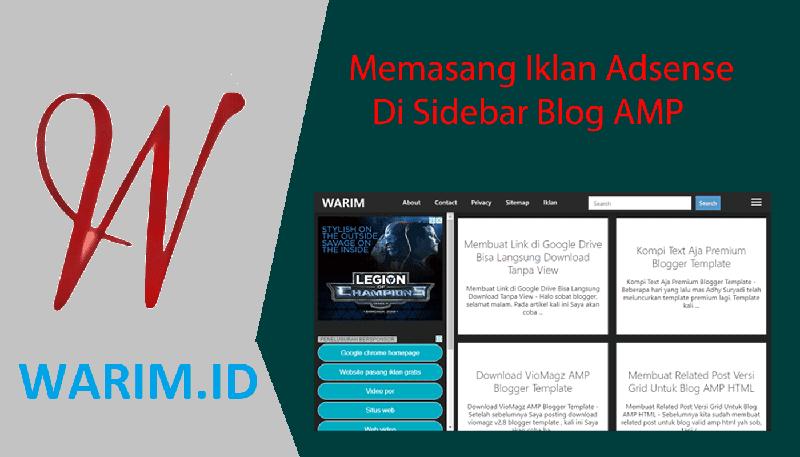 Cara Memasang Iklan Adsense di Sidebar Blog AMP HTML