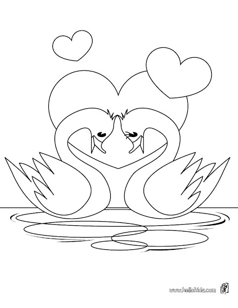 Heart Hot Air Ballon Swan In Love Coloring Page  Coloring Page  Holiday Coloring  Pages  Valentine Coloring Pages